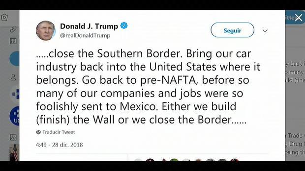 [TLMD - LV] Trump amenaza con cerrar la frontera con México si no logra fondos para muro