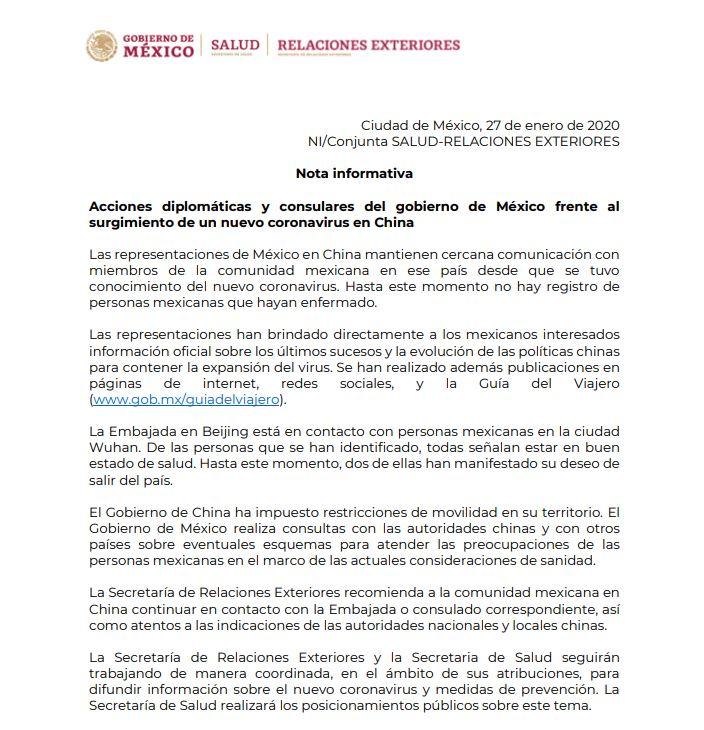No hay mexicanos contagiados de coronavirus en China: SRE 3