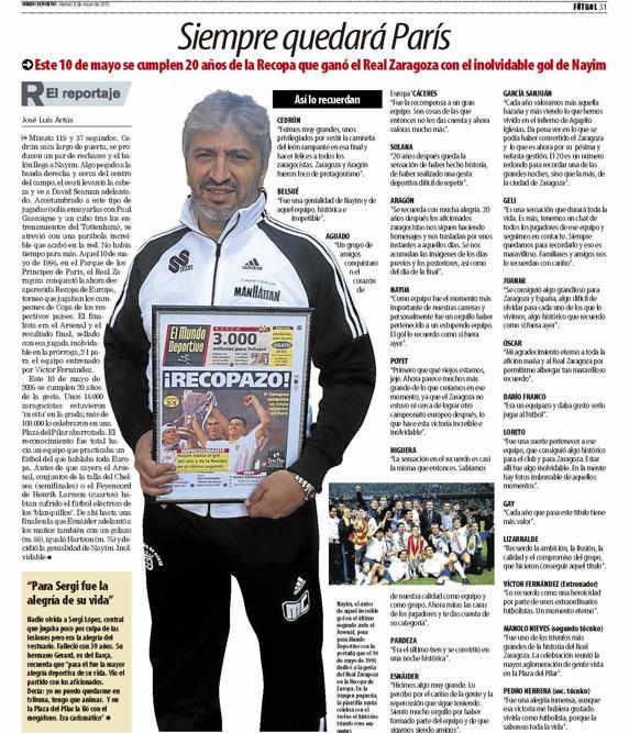 Reportaje en MD con los jugadores del Real Zaragoza cuando se cumplieron 20 años de ganar la Recopa.